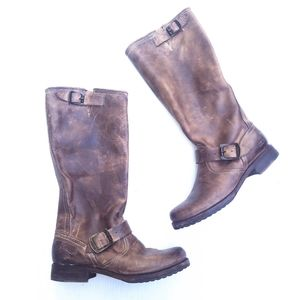 FRYE Veronica slouch brown leather riding boots
